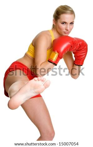 Kick Boxer Woman - stock photo