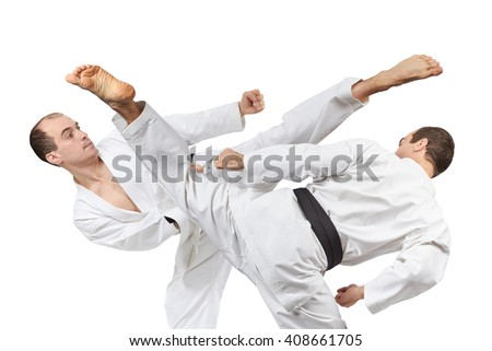 Kick leg in the performance of an athlete with black belt  a collage