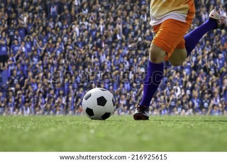 Kick the soccer ball - stock photo