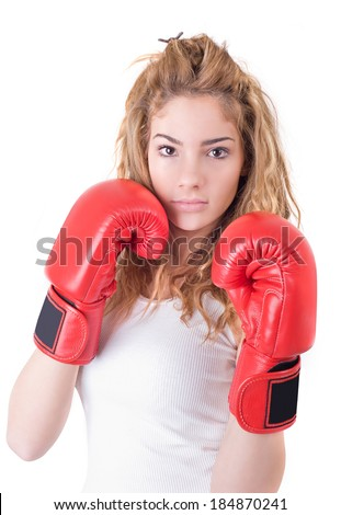 Kickboxing girl exercise in studio. Isolated on a white background. Studio shot - stock photo