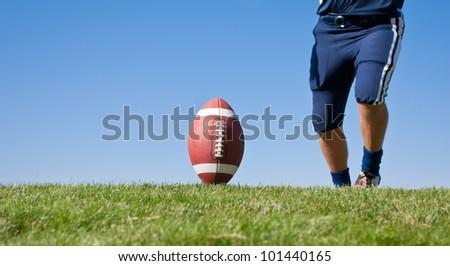 Kicker Ready for Football Kickoff - stock photo