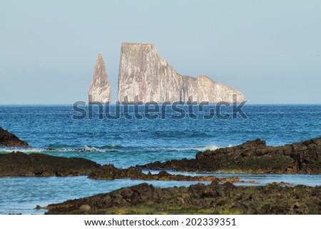 Kicker Rock (Leon dormido) in San Cristobal island, Galapagos, Ecuador - stock photo