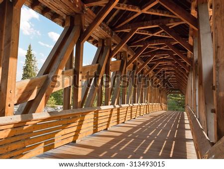 Kicking Horse Pedestrian Bridge in Golde, BC, Canada - stock photo