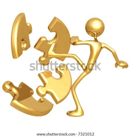 Kicking Puzzle - stock photo