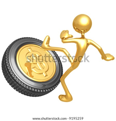 Kicking The Gold Dollar Tire - stock photo
