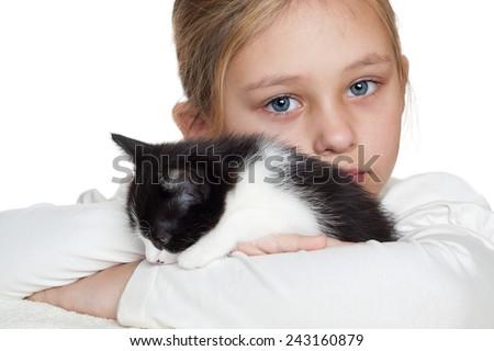 kid and kitten - stock photo