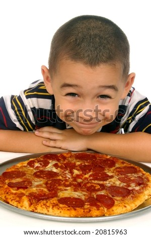 kid and pizza 5 years old - stock photo
