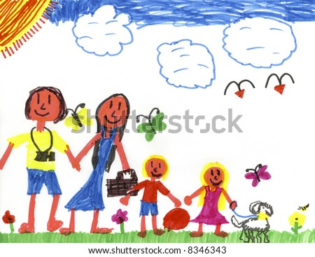 Kid Art by a Genuine 9-yr-old Kid! - stock photo