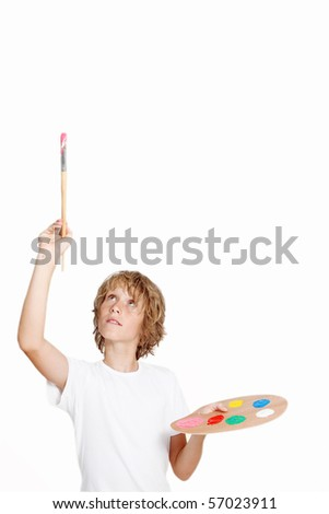 kid artist painting blank space - stock photo