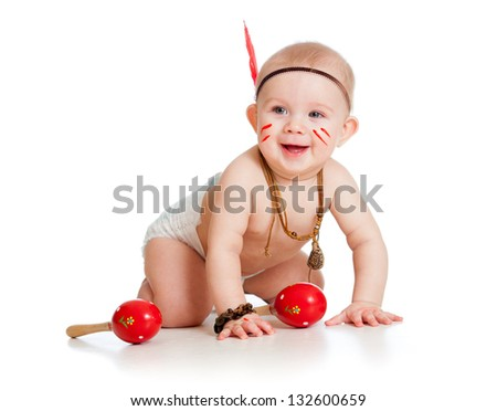 kid baby playing indian boy - stock photo