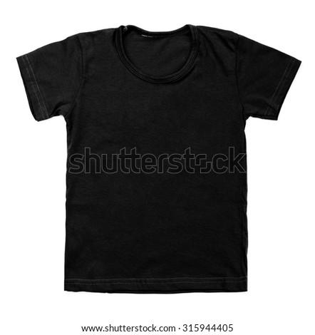 Kid black tshirt on white background. - stock photo