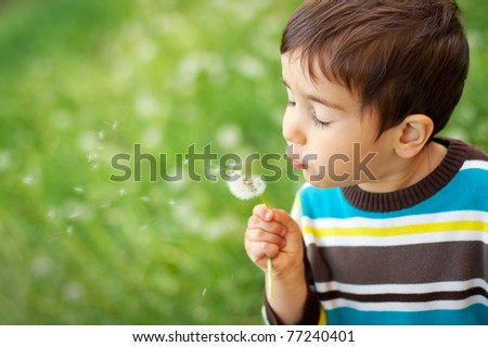 Kid blowing dandelion outdoor on green - stock photo