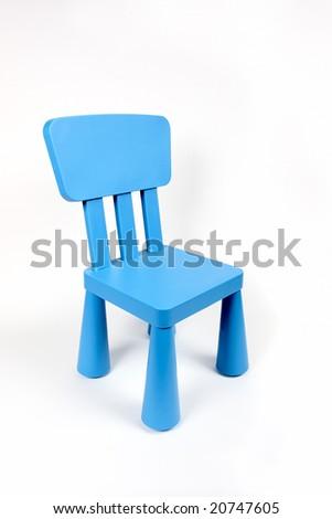 Kid blue chair isolated - stock photo