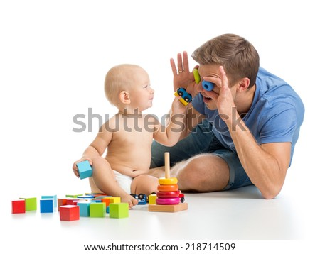 kid boy and father playing together - stock photo
