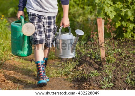 Kid boy carrying two big heavy watering cans. Child helping parents in the garden. Watering plants in the vegetable garden. Summer activities in the garden.