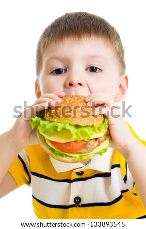 Kid boy eating delicious hamburger - stock photo