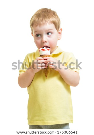 kid boy eating ice-cream isolated on white - stock photo
