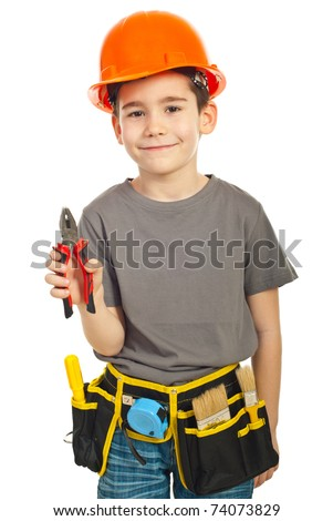 Kid boy giving pliers isolated on white background - stock photo