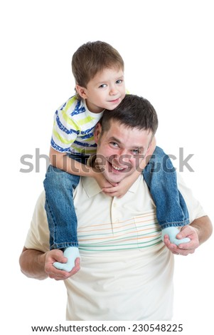 kid boy sitting on dad's shoulders isolated - stock photo