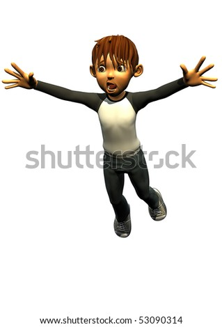 kid boy teen human falling - stock photo