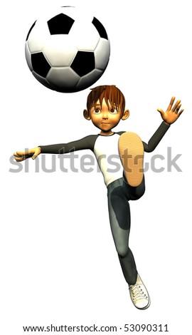kid boy teen human footballer foot - stock photo