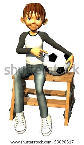 kid boy teen human footballer seated - stock photo