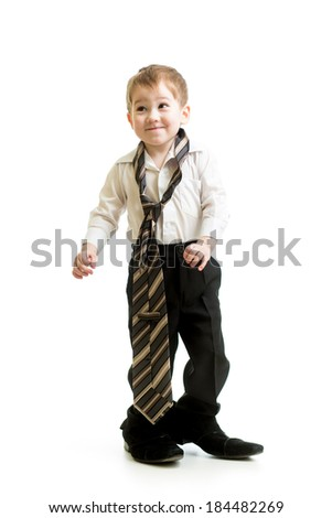 kid boy weared father shoes - stock photo