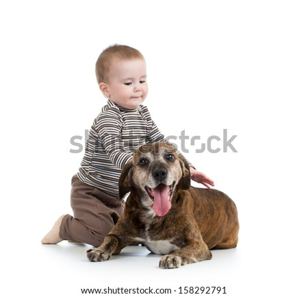 kid boy with dog isolated