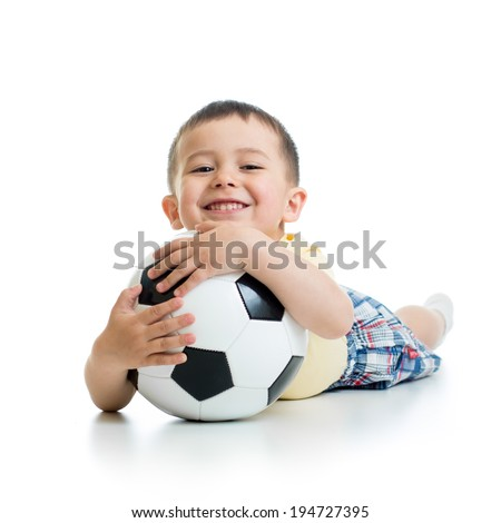 kid boy with soccerball  over white background - stock photo