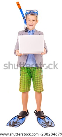 kid businessman wearing fins, snorkel and goggles - stock photo