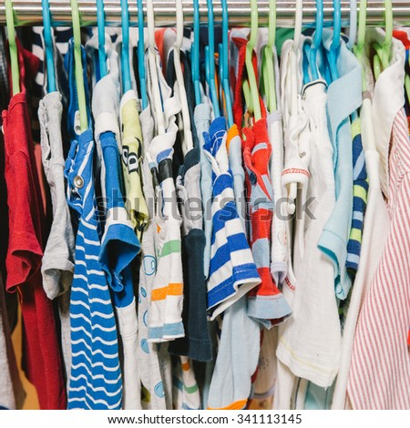 Collection Female Clothes Hanging On Rack Stock Photo ...