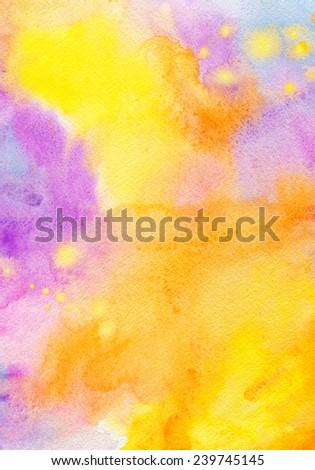 kid colorful background for invitation, decorated and party. watercolor art drawing - stock photo
