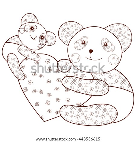 kid coloring book page cute panda with heart and baby panda brown outline whimsical - Kid Coloring Book