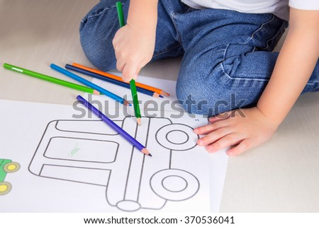 kid coloring paints - stock photo