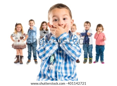 Kid covering his mouth over white background - stock photo