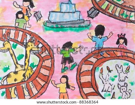 kid crayon art - stock photo