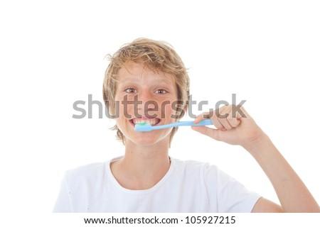 kid dental health , child cleaning teeth - stock photo