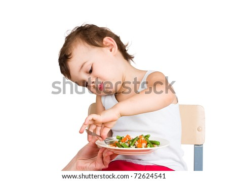 Kid does not want to eat - stock photo