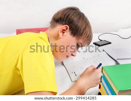 Kid doing Homework at the Home - stock photo