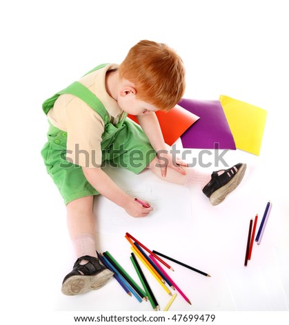 Kid drawing. Top view - stock photo