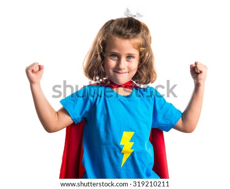 Kid dressed like superhero - stock photo