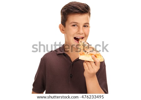 Kid eating a slice of pizza isolated on white background