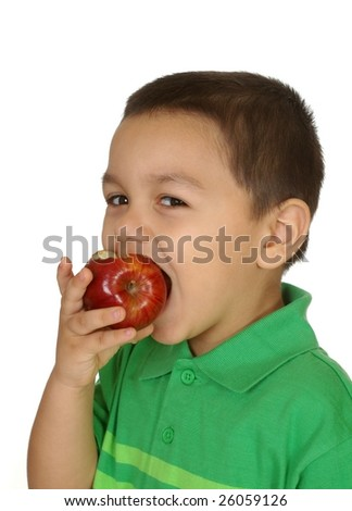 kid eating an apple, isolated on white - stock photo