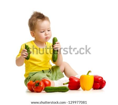 kid eating healthy food - stock photo