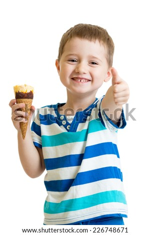 kid eating ice-cream and showing okay sign - stock photo