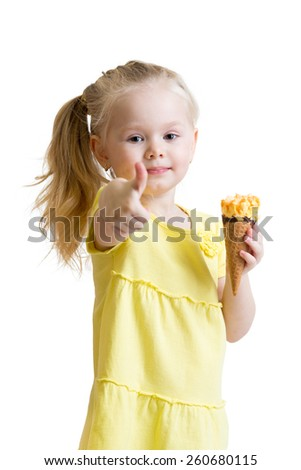 kid eating ice-cream and showing okay sign isolated - stock photo