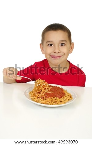 Kid eating spaghetti, isolated on white background - stock photo