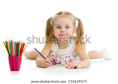 kid girl drawing with colourful pencils - stock photo