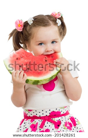 Kid girl eating watermelon isolated on white - stock photo