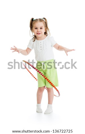 kid girl having fun with  hoop isolated - stock photo